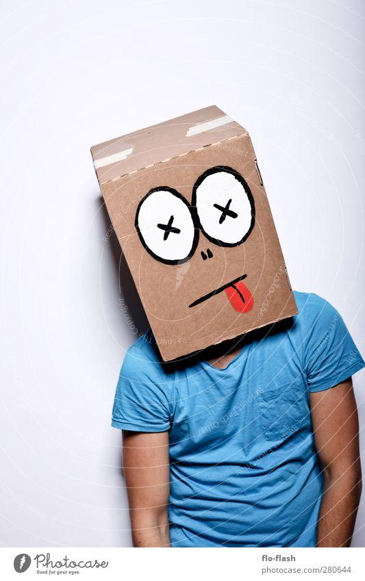 KARTOON · LASSE maskulin Junger Mann Jugendliche Erwachsene 1 Mensch Kunst Theaterschauspiel Karton hängen hässlich kaputt trashig verrückt blau Traurigkeit