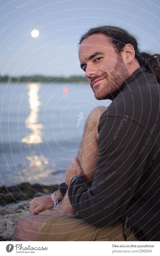 na, kleine!? Himmel Mann Jugendliche Sommer Meer Strand ruhig Landschaft Erwachsene Umwelt Leben See Junger Mann maskulin Schönes Wetter Romantik
