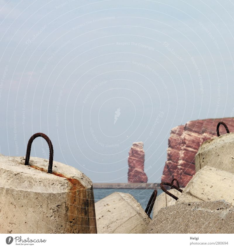 Küstenschutz... Ferien & Urlaub & Reisen Tourismus Sommer Meer Insel Helgoland Lange Anna Umwelt Natur Wasser Wolkenloser Himmel Felsen Nordsee Sehenswürdigkeit