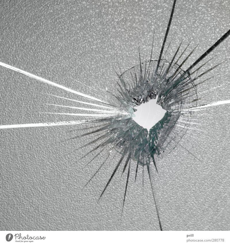 shot springen Hintergrundbild Glas Ordnung Idee Mitte Teile u. Stücke Loch gebrochen Zerstörung Rest Durchblick rau zerbrechlich gerissen Scherbe