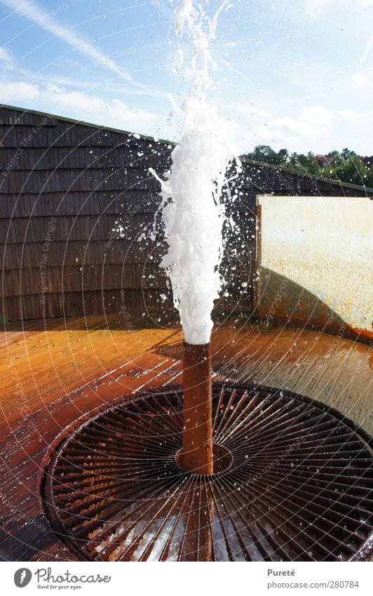 Fresh surprise! Wasserkraftwerk Sommer Schönes Wetter Holz Metall Rost frisch nass orange rot Kraft Überraschung Gelöstheit losgelöst spritzen Farbe Freiheit