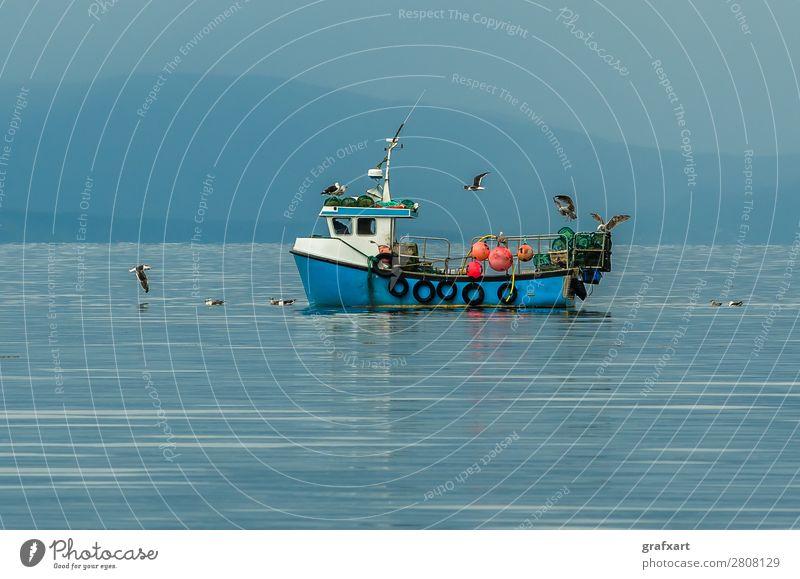 Kleines Fischerboot mit Möwen am Atlantik in Schottland Wasserfahrzeug Business fangen Angeln Fischereiwirtschaft gairloch Großbritannien Hebriden Horizont