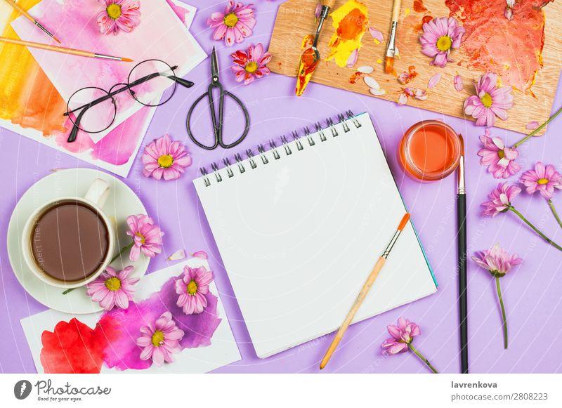 Kunstbedarf, Palette, Gläser, Blumen, Tee und Skizzenbuch Blog Blüte Bürste Chrysantheme Farbe mehrfarbig Kreativität Tasse Gänseblümchen Margerite Design