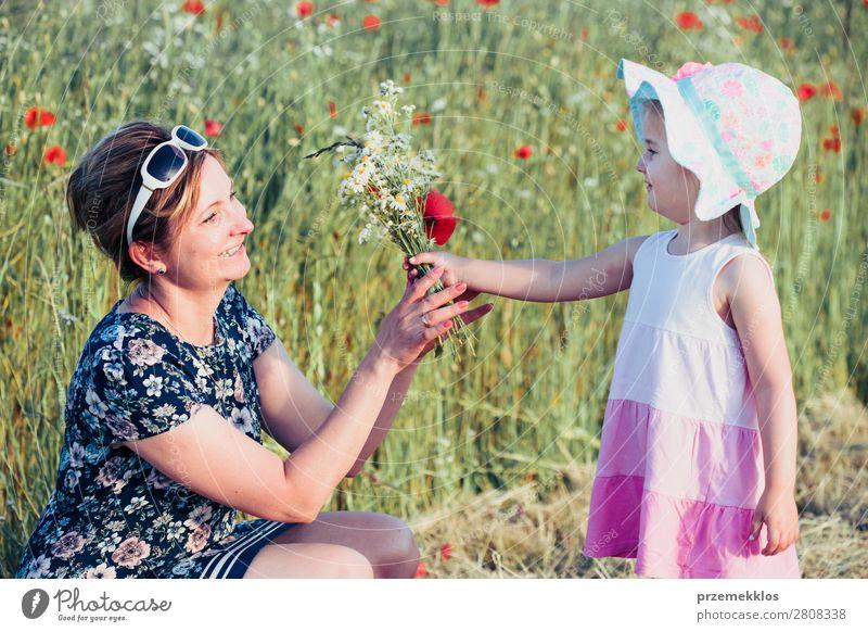 Mutter und ihre kleine Tochter auf dem Feld der Wildblumen Lifestyle Freude Glück schön Sommer Garten Kind Mensch Frau Erwachsene Eltern