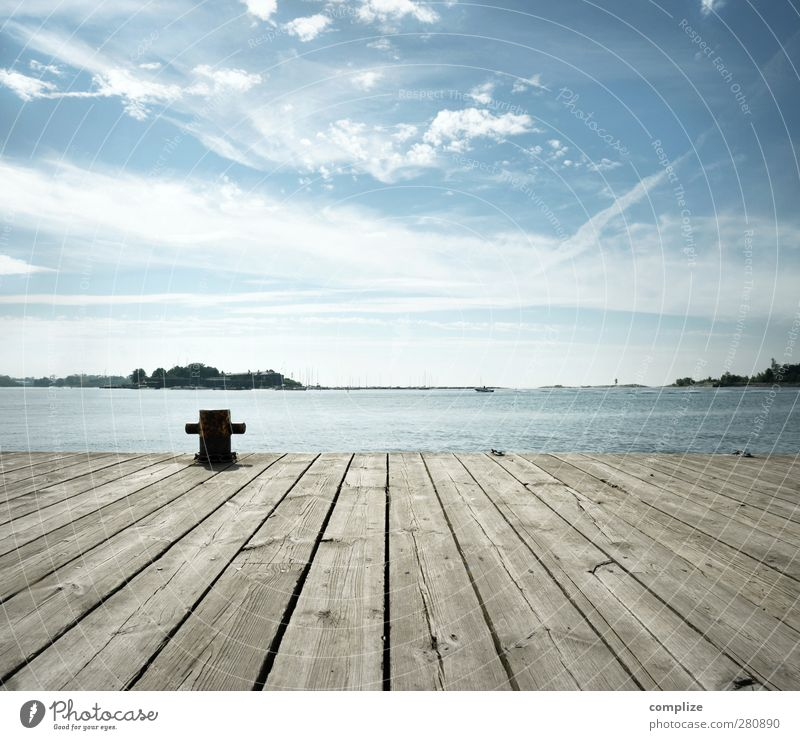 pier Natur Ferien & Urlaub & Reisen Sommer Sonne Meer Strand ruhig Ferne Küste Freiheit See Horizont Idylle Fitness Aussicht Hafen