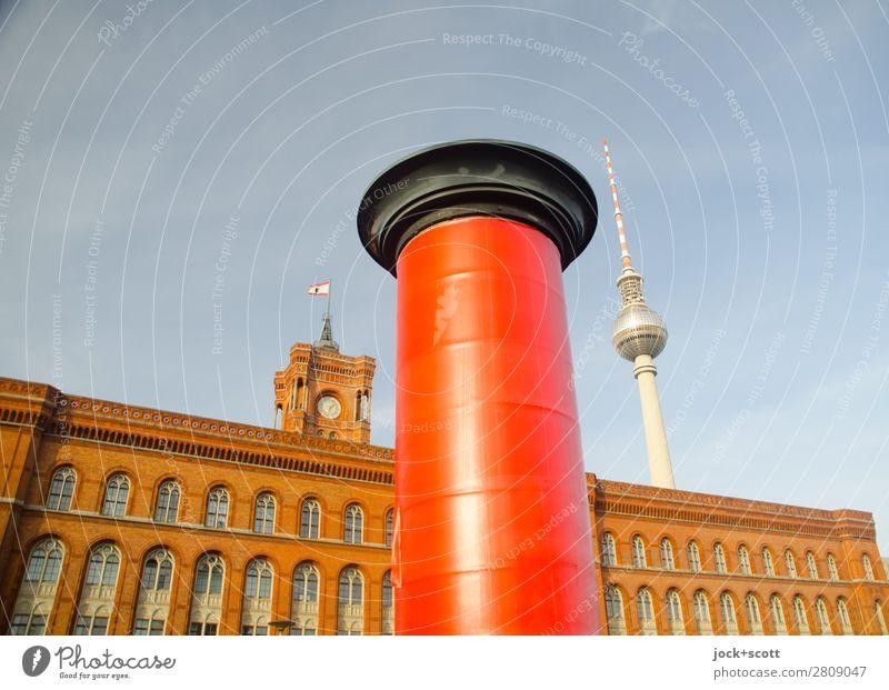 Werbepause Stil Sightseeing Werbebranche Wolkenloser Himmel Schönes Wetter Berlin-Mitte Stadtzentrum Bauwerk Gebäude Architektur Sehenswürdigkeit Wahrzeichen