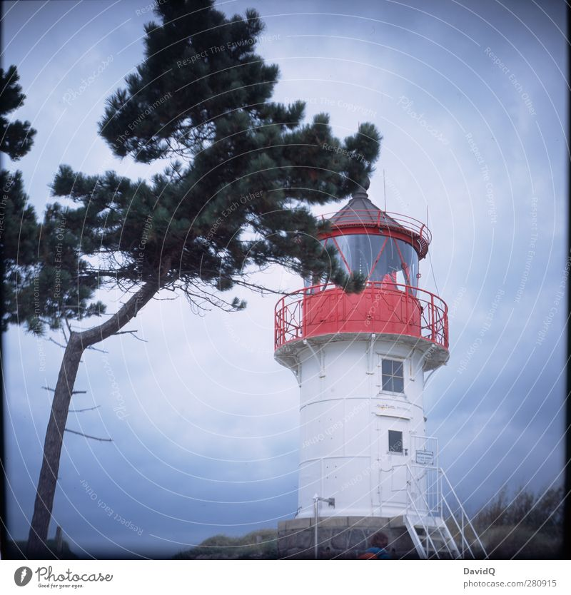 Süden Umwelt Natur Landschaft Himmel Wolken Wetter schlechtes Wetter Küste Ostsee Leuchtturm Bauwerk Gebäude Sehenswürdigkeit Wahrzeichen Schifffahrt Idylle