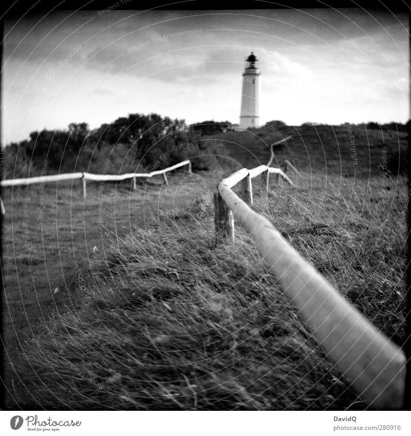 Norden Umwelt Natur Landschaft Himmel Wolken Herbst Wiese Hügel Küste Ostsee Leuchtturm Bauwerk Gebäude Sehenswürdigkeit Wahrzeichen Schifffahrt natürlich