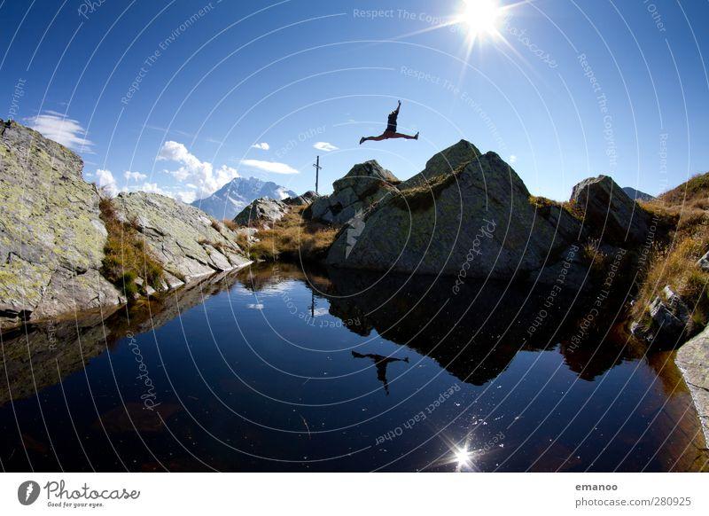 |500| Gipfelsprung Lifestyle Stil Freude Fitness Ferien & Urlaub & Reisen Tourismus Ausflug Freiheit Sommer Sonne wandern Sport Mensch feminin Junge Frau