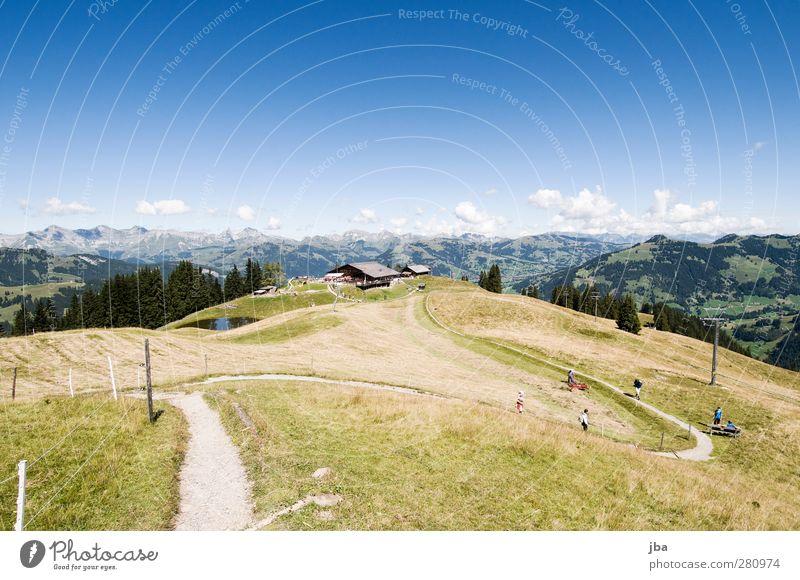 Wispile Natur Sommer Landschaft Ferne Berge u. Gebirge Gras Wege & Pfade wandern Tourismus Ausflug Alpen Aussicht Landwirtschaft Fußweg Zaun harmonisch