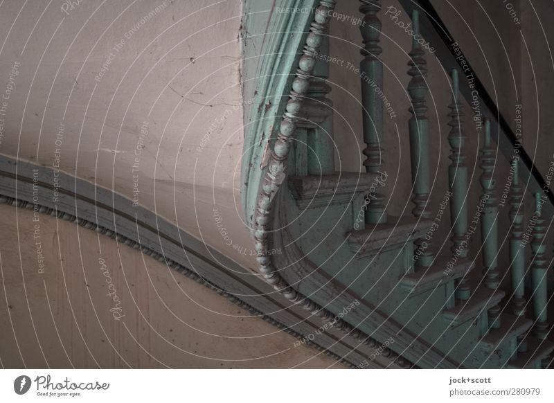 Stil und Steigung Architektur Kunsthandwerk Jugendstil Treppe Treppengeländer Dekoration & Verzierung Treppenhaus Holz ästhetisch authentisch dreckig elegant