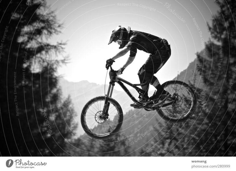 flying bikeman Mensch Natur Mann Jugendliche Sommer Baum Landschaft Erwachsene Wald Berge u. Gebirge Sport Herbst springen Luft 18-30 Jahre Körper