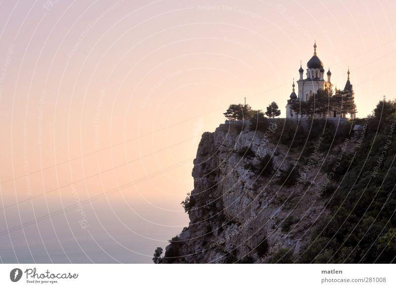 das energetisch weiche Licht Himmel Küste Felsen Horizont Schönes Wetter Kirche Wolkenloser Himmel Glaube Klippe Hochspannungsleitung demütig Dämmerung Umwelt Elektrizität Religion & Glaube Sonnenuntergang