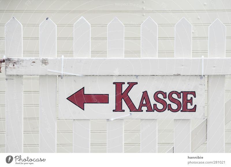 Zur Kasse gebeten weiß rot Holz Schilder & Markierungen Hinweisschild Geld Information Pfeil Zaun bezahlen links Kapitalwirtschaft