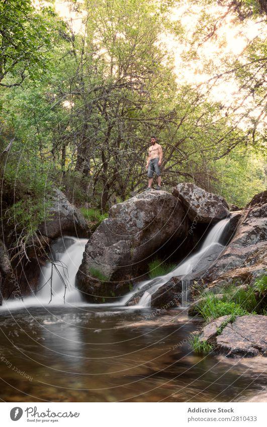 Junger Mann ruht sich am Wasserfall aus. Natur Sommer Ferien & Urlaub & Reisen genießend Gesundheit Körper Entwurf grün frisch gutaussehend Mensch Lifestyle