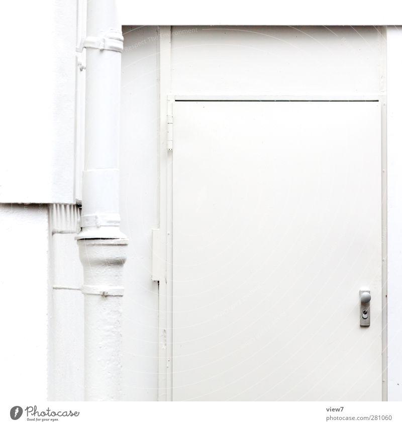 white trash alt weiß Haus kalt Wand Mauer Metall Linie Zeit Tür Fassade authentisch frei Beton Beginn ästhetisch