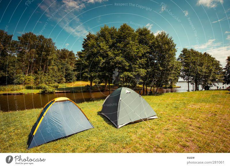Doppelzelt Himmel Natur blau grün Ferien & Urlaub & Reisen Sommer Baum Wolken Landschaft Umwelt Wiese See Horizont Klima Freizeit & Hobby authentisch