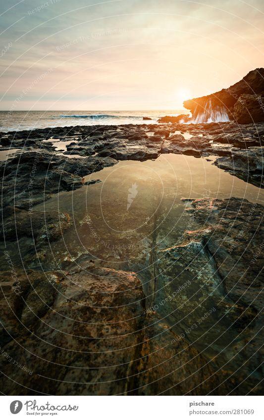 Sao Lourenco Natur Wasser Himmel Sonnenaufgang Sonnenuntergang Sommer Küste Riff Meer Kitsch schön Wärme Pfütze Farbfoto Außenaufnahme Textfreiraum unten