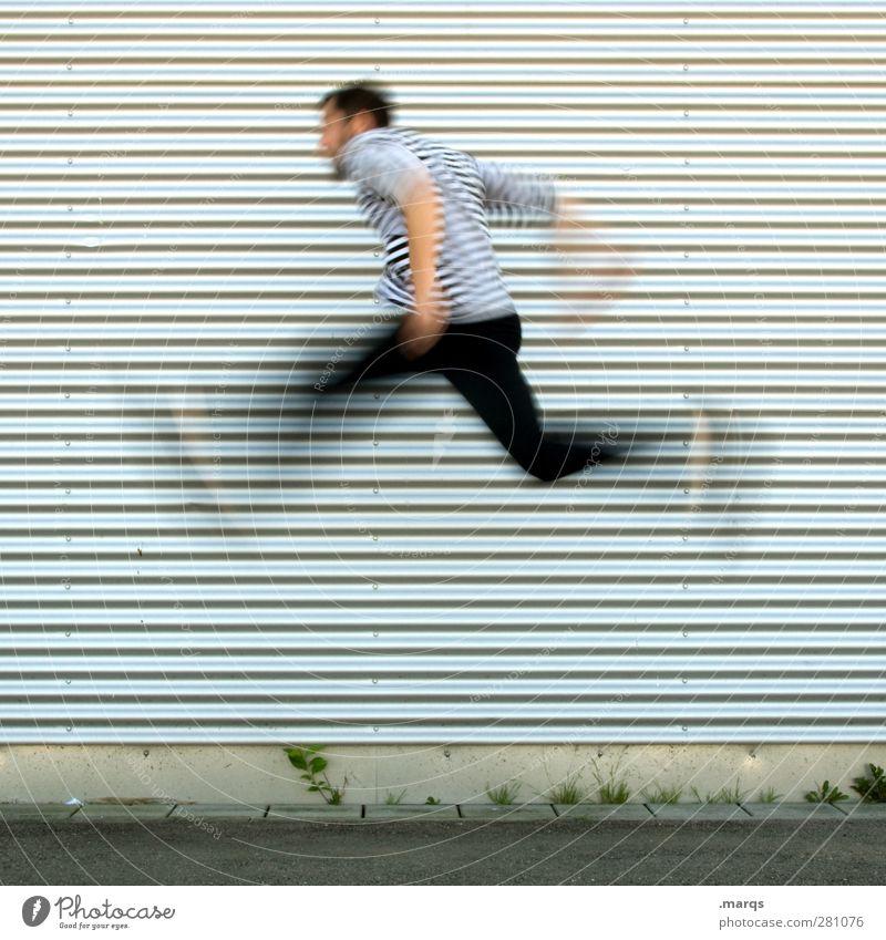 Fortschritt Lifestyle Stil Karriere Erfolg Mensch maskulin Junger Mann Jugendliche 1 18-30 Jahre Erwachsene Fassade Linie rennen fliegen springen