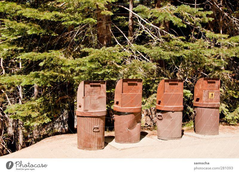 Abfalleimer Natur Umwelt Metall braun dreckig Ordnung Reinigen Sauberkeit Müll Rost Kasten trashig Trennung Umweltschutz Container werfen