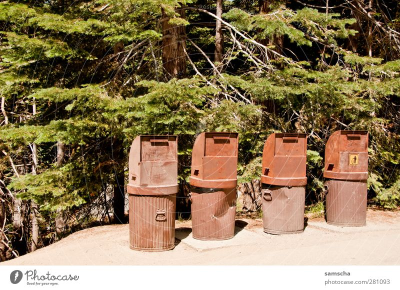 Abfalleimer Umwelt Natur Kasten Container Metall Rost werfen dreckig Ekel hässlich trashig braun Reinlichkeit Sauberkeit Ordnung Trennung Umweltverschmutzung