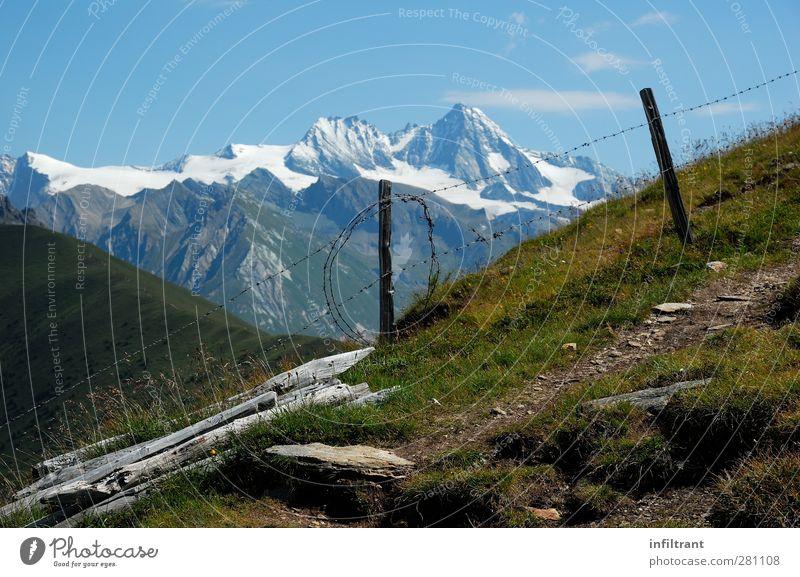 in den Alpen Berge u. Gebirge wandern Klettern Bergsteigen Landschaft Sommer Schönes Wetter Gipfel Schneebedeckte Gipfel ruhig Einsamkeit Freiheit Klima Natur