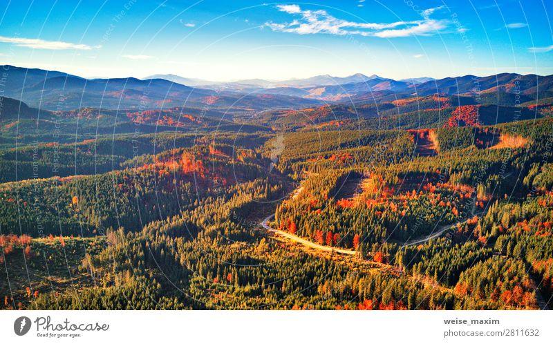 Straße im Herbst Saison Wald mit Wolken und blauem Himmel Ferien & Urlaub & Reisen Tourismus Ausflug Ferne Freiheit Expedition Sommer Berge u. Gebirge wandern