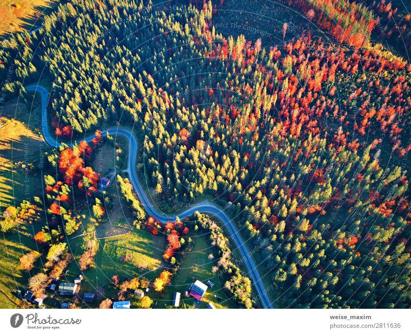 Gebogene Straße im Herbstwald und Dorf. schön Ferien & Urlaub & Reisen Tourismus Ausflug Abenteuer Ferne Freiheit Berge u. Gebirge wandern Häusliches Leben Haus
