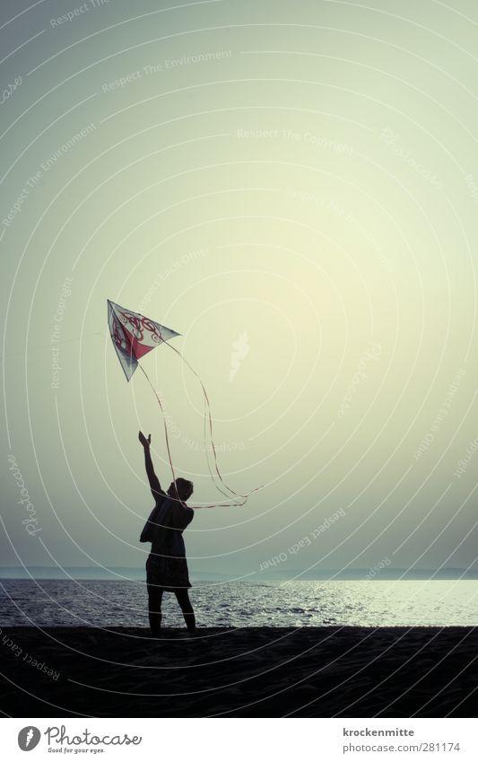 lift off Mensch Himmel Jugendliche Ferien & Urlaub & Reisen Sommer Meer Freude Strand Küste Freiheit Glück Junger Mann Wellen fliegen Wind Freizeit & Hobby