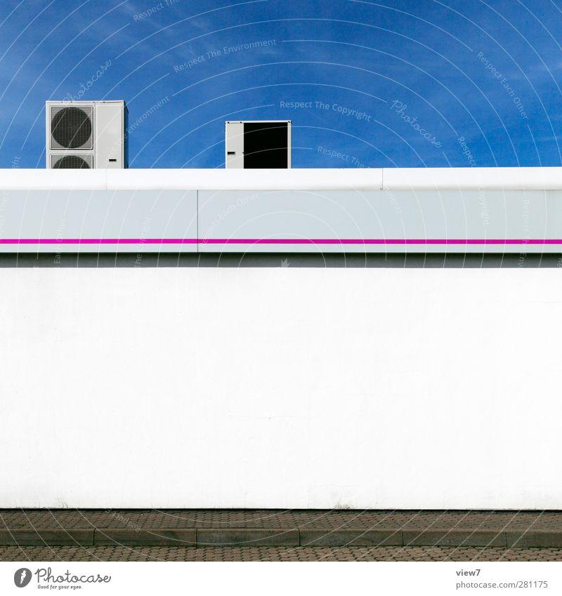 klima Haus Bauwerk Gebäude Architektur Mauer Wand Fassade Stein Beton Linie Streifen ästhetisch authentisch einfach frisch modern oben positiv weiß Identität