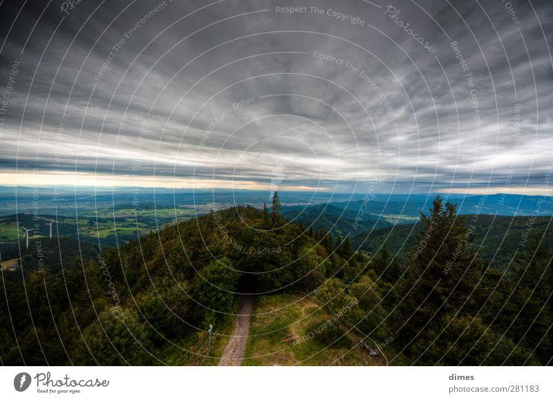 Blick vom Schauinsland Richtung Vogesen (HDR) Wolken Landschaft Erholung Berge u. Gebirge Stimmung wandern bedrohlich Sinnesorgane Expedition HDR Schwarzwald Schauinsland