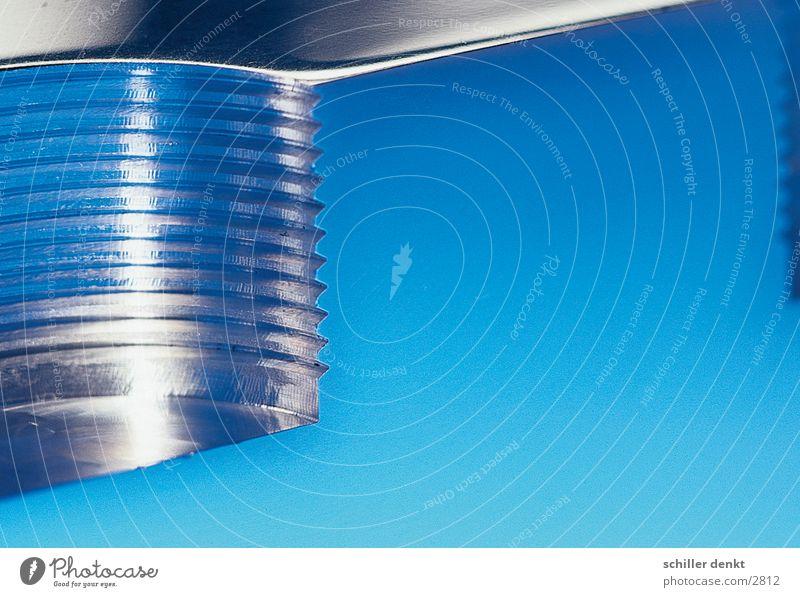 Gewindeblock blau Metall Industrie Werkzeug Aluminium Bohrmaschine Drehgewinde