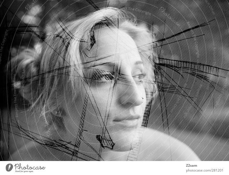 Illustratorin Mensch Jugendliche schön Erwachsene feminin Junge Frau Glück träumen 18-30 Jahre blond Freizeit & Hobby Design frei Kommunizieren einzigartig