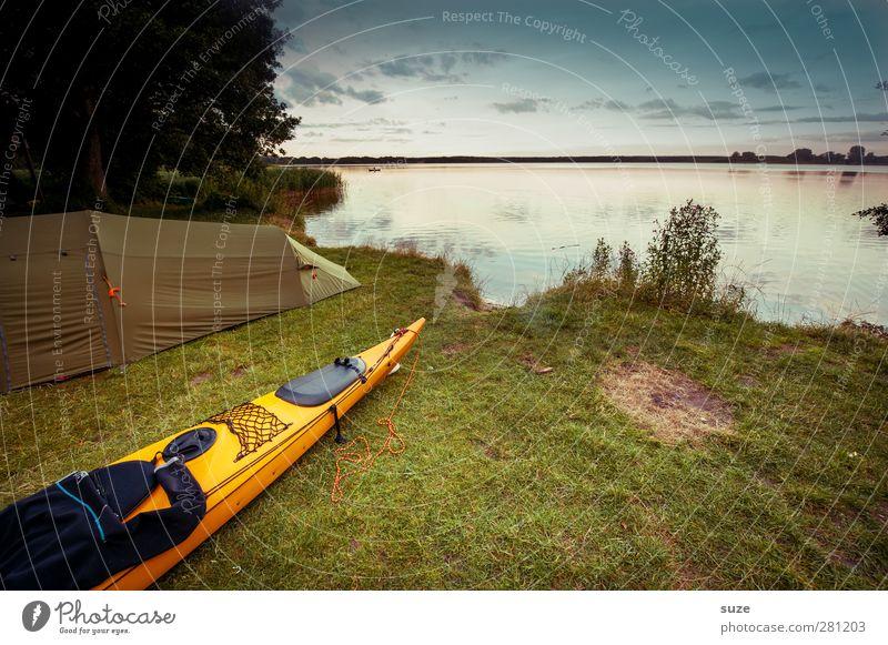 Kanu Himmel Natur Wasser Ferien & Urlaub & Reisen Sommer ruhig Landschaft Umwelt Wiese See Freizeit & Hobby authentisch Ausflug Abenteuer Idylle Schönes Wetter