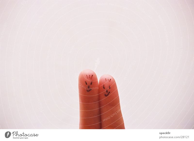 Two Fingers Mensch Gesicht 2 Hand gut böse