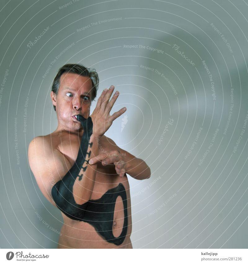 den richtigen ton treffn Lifestyle Mensch maskulin Haut 1 Kunst Künstler Maler Kunstwerk Gemälde Kultur Musik Konzert Band Musiker lustig Trompete Saxophon