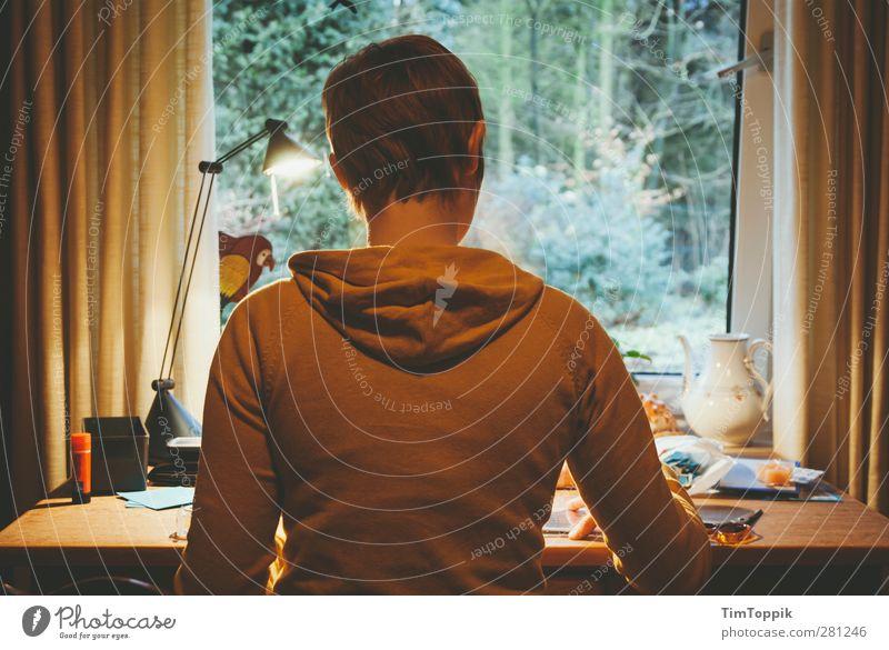 In Tante Finis Zimmer Mensch 1 fleißig Fenster Schreibtisch Arbeit & Erwerbstätigkeit Häusliches Leben Wohnung Garten Fensterblick Fensterrahmen Konzentration