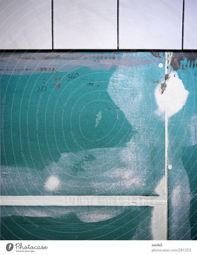Trockenbau Technik & Technologie Stein Kunststoff Schriftzeichen Ziffern & Zahlen bauen zeichnen türkis weiß Fliesen u. Kacheln Linie messen Genauigkeit penibel