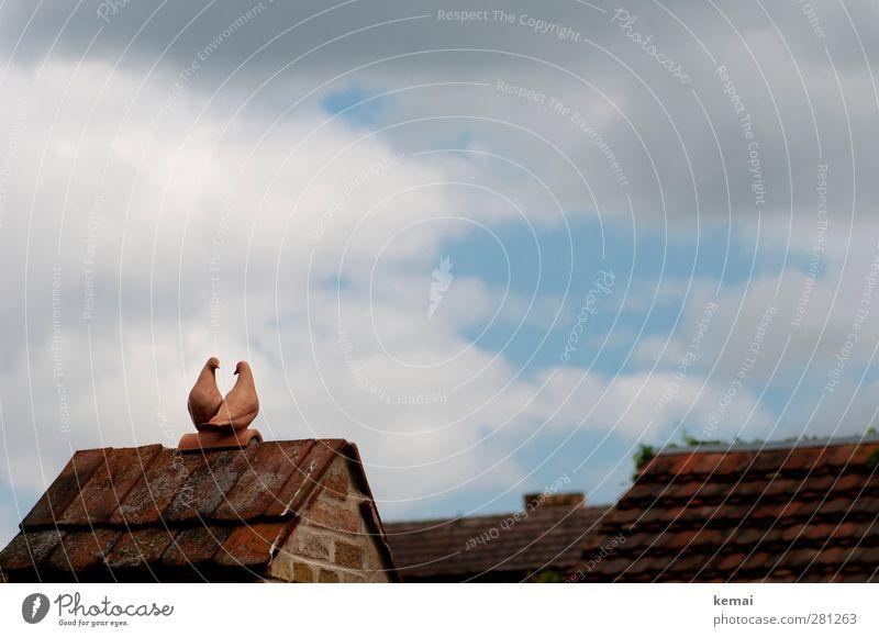 AST5 | Turteltäubchen Himmel Wolken Haus Mauer Wand Dach Dachziegel Dachgiebel Tier Vogel Taube 2 Tontaube Figur sitzen oben Farbfoto Gedeckte Farben