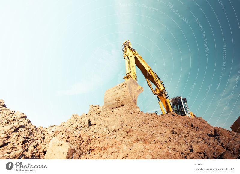 Bagger Arbeit & Erwerbstätigkeit Arbeitsplatz Baustelle Industrie Dienstleistungsgewerbe Mittelstand Umwelt Urelemente Erde Himmel Schönes Wetter Metall blau