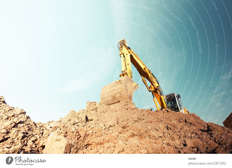 Bagger Himmel blau gelb Umwelt Metall braun Arbeit & Erwerbstätigkeit Erde Schönes Wetter Urelemente Industrie Baustelle Dienstleistungsgewerbe Arbeitsplatz