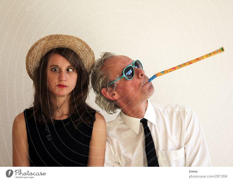 Doppelspitze Frau Erwachsene Mann 2 Mensch Theaterschauspiel Schauspieler Clown T-Shirt Hemd Krawatte Strohhut Sonnenbrille Hut Spielzeug Kitsch Krimskrams