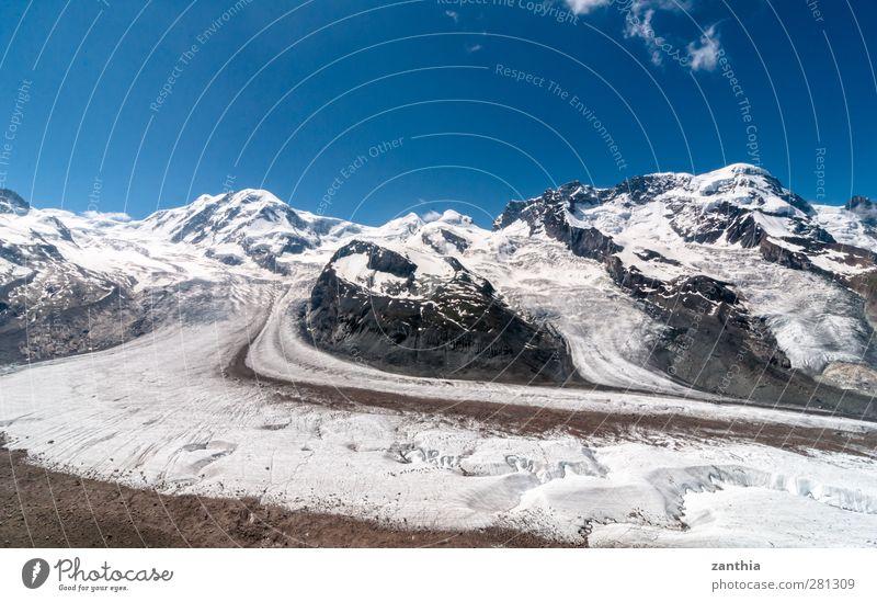 Gorner Glacier Natur Landschaft Himmel Sommer Klimawandel Schönes Wetter Alpen Berge u. Gebirge Gipfel Schneebedeckte Gipfel Gletscher Schweiz alt gigantisch
