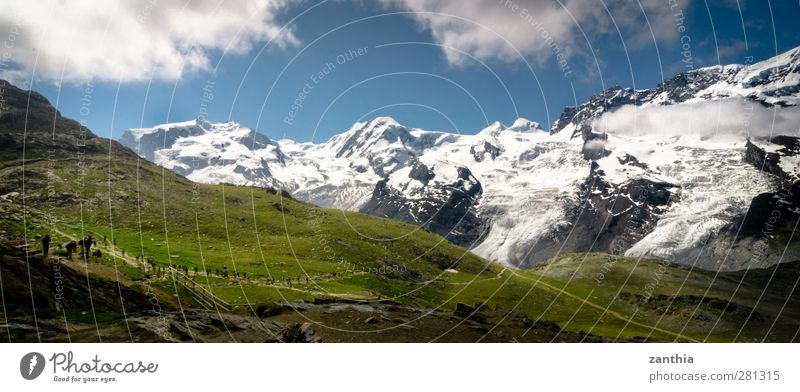 Rotenboden Natur Wolken Sommer Schönes Wetter Alpen Berge u. Gebirge Gipfel Schneebedeckte Gipfel Gletscher wandern blau grün weiß Horizont kalt Klima Tourismus