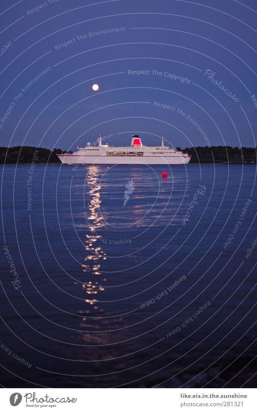 ein schiff wird kommen.... Landschaft Wolkenloser Himmel Mond Vollmond Sommer Wellen Küste Seeufer Flussufer Nordsee Ostsee Meer Schifffahrt Binnenschifffahrt