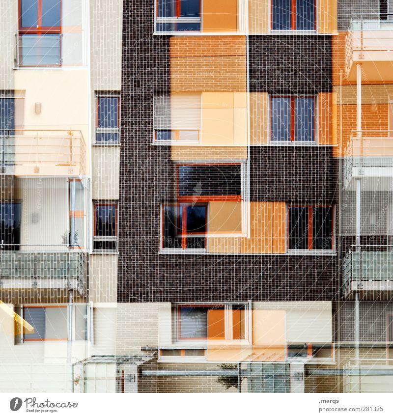 E Haus Fenster Wand Architektur Mauer Gebäude Stil außergewöhnlich Fassade Design Zukunft verrückt modern Schriftzeichen Häusliches Leben Wandel & Veränderung