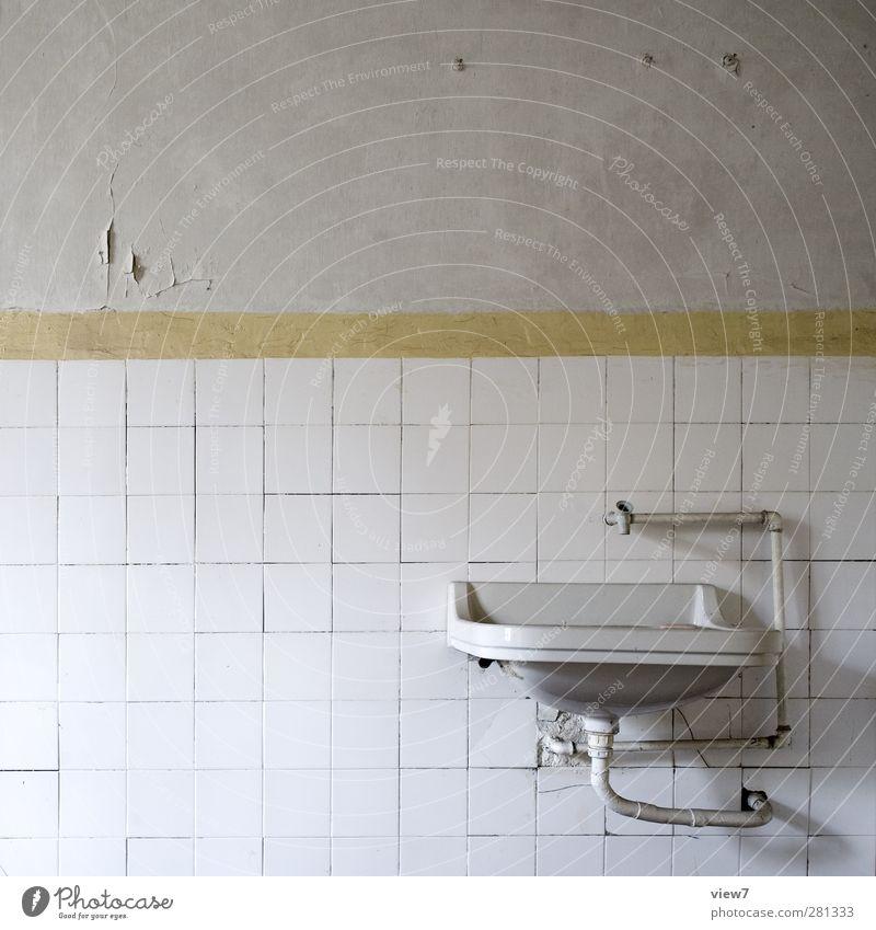 installation Renovieren Umzug (Wohnungswechsel) einrichten Innenarchitektur Raum Bad Haus Mauer Wand Fassade Stein Beton Linie Streifen alt authentisch kaputt