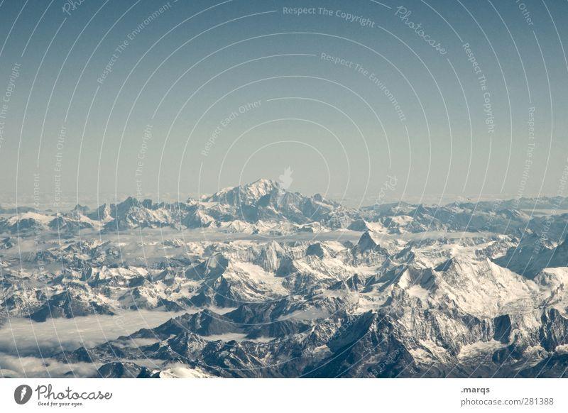Aussicht Natur Ferien & Urlaub & Reisen schön Winter Landschaft Ferne Berge u. Gebirge kalt Freiheit Horizont Tourismus Schönes Wetter Schneebedeckte Gipfel