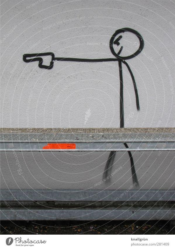 City life Jugendkultur Subkultur Mauer Wand Fassade Baugerüst Leitplanke Zeichen Graffiti stehen Aggression bedrohlich Stadt orange schwarz weiß Gefühle