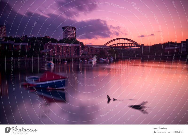 Sonnenuntergang in St. Peters Natur Landschaft Himmel Wolken Nachthimmel Sonnenaufgang Sonnenlicht Sommer Schönes Wetter Flussufer Stadt schön Brücke